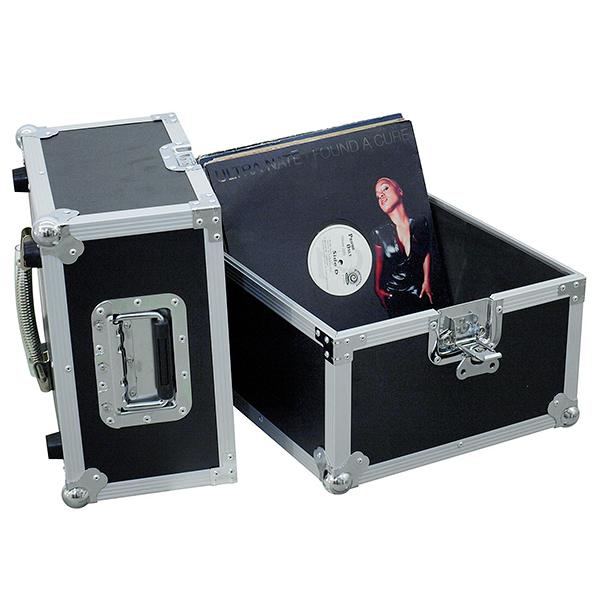 OMNITRONIC Kuljetuslaatikko PRO vinyylilevyille. Record case Pro BLACK 50/50, 100 LPs. Record case in aluminum housing