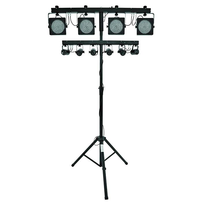 EUROLITE LED-valosetti KLS-Kombo paketti sisältää KLS-200 led spotit, LED SCY bar efektivalon, telineen+ adapterin sekä tarvittavat johdot.  Compact mobile light set.
