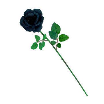 EUROPALMS 65cm Ruusu musta-tummansininen. Rose, black-darkblue. Opened rose in a trendy dark color