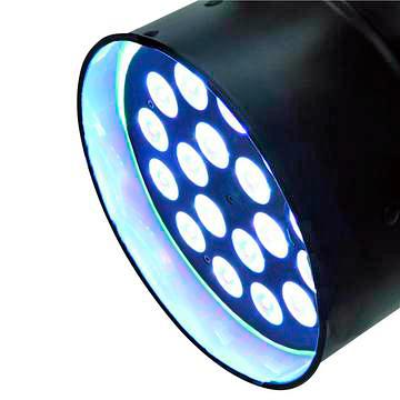 EUROLITE LED PAR-64 QCL 18x 8W Huipputehokas PAR 64 runkoon rakennettu LED spotti. 4in1 LEDit 19°, RGBW-värit, mallia lyhyt musta.
