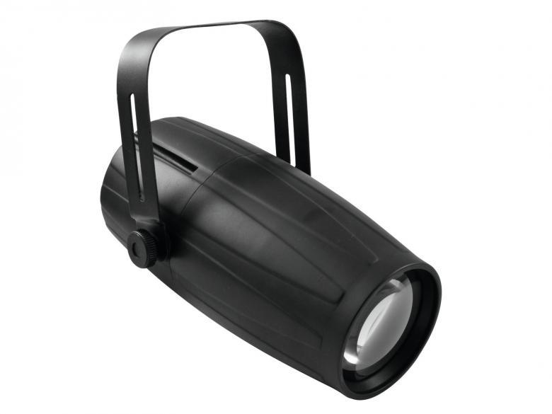 EUROLITE LED PST-15W pinspotti 1x15W QCL 4in1 LED 6°, RGBW-värit, DMX, stand alone tai musiikkiohjaus. LED pinspot with QCL LED and DMX control. Tällä heittimellä saat tiukasti rajatun spotin. Soveltuu peilipallo, sekä seinän valaisuun esim. Pylväiden, peilipallojen tms. Mitat 295 x 180 x 230 mm sekä paino 1,25kg.