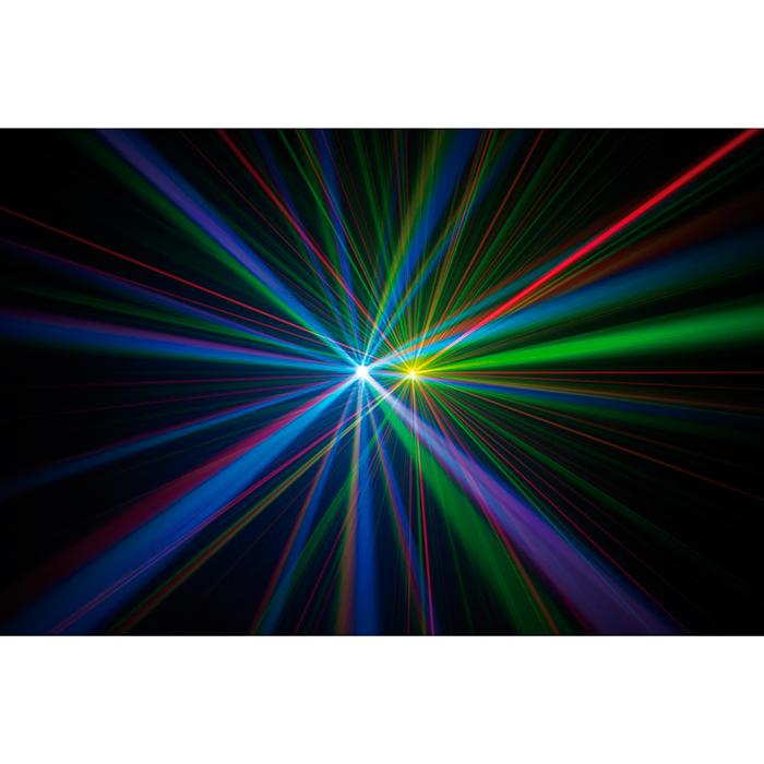 """AMERICANDJ Fusion FX Bar 5, upea monitoimi valoefekti, sisältää LED Wash/Strobe-efektin, TRI Color LED Moonflowerin ja """"Galaxian Style"""" Laserin väreillä punainen ja vihreä"""