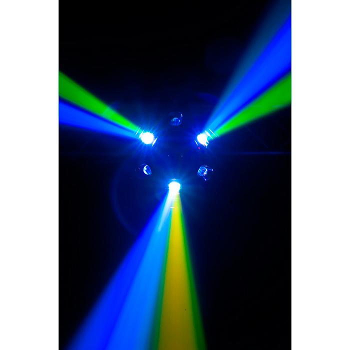 ADJ Nucleus Pro keskuspiste-efekti, erittäin näyttävä ja tehokas. 6x 10W Quad Color LEDiä RGBW-väreillä, DMX, musiikkiohjaus ja master slave. LED Centerpiece effect. Tämän valoefektin voit laittaa tanssilattian yläpuolelle. Soveltuu parhaiten 2,7m sekä korkeampiin tiloihin. Mitat 577 x 263 x 670mm 12,7kg.