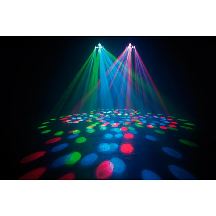 ADJ Fun Factor LED 2-in-1 valoefekti, Moonflower ja Strobe, yhteensä 282 LEDiä, DMX, musiikkiohjaus ja master slave, sisäänrakennetut valo-ohjelmat.