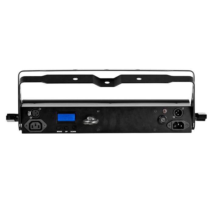 ADJ Mega 24PRO RGB LED-palkki. 24x 1W LEDiä, 10˚ vertikaali ja 40˚ horisontaali, himmennettävä 0 - 100%, DMX, master/slave, musiikkiohjaus, auto run, manual color mode, color fade mode, color chance mode, 32 sisäänrakennettua värimacroa. Pro LED Bar
