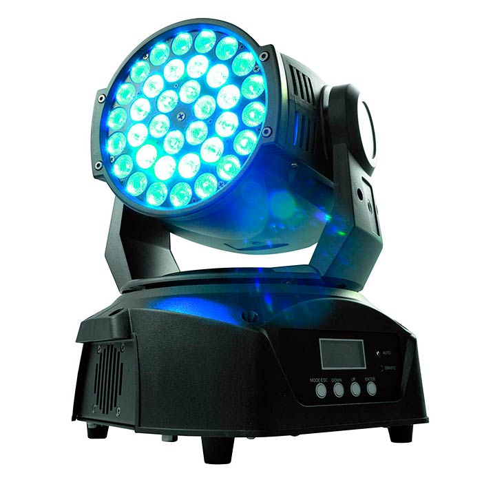 EUROLITE LED TMH-40 Valovoimainen pieni Moving Head Wash, 36x 3W TCL LED (tricolor LED) RGB, himmennin, strobe, DMX-ohjaus tai stand-alone, master/slave. Mitat 245 x 245 x 310 mm sekä paino 6,0kg.