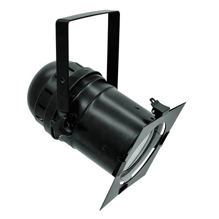 EUROLITE LED PAR-56 valonheitin 100W COB LED 28° 5600K päivänvalo, musta, himmennin, strobe, DMX-ohjaus tai stand-alone, master/slave. Tämä todella tehokas LED valonheitin soveltuu teattereihin, isoille stageille sekä keikkakäyttöön. 100W COB led vastaa helposti n. 650W halogeeni heitintä. Mitat 330 x 235 x 350 mm sekä paino 2,5kg.