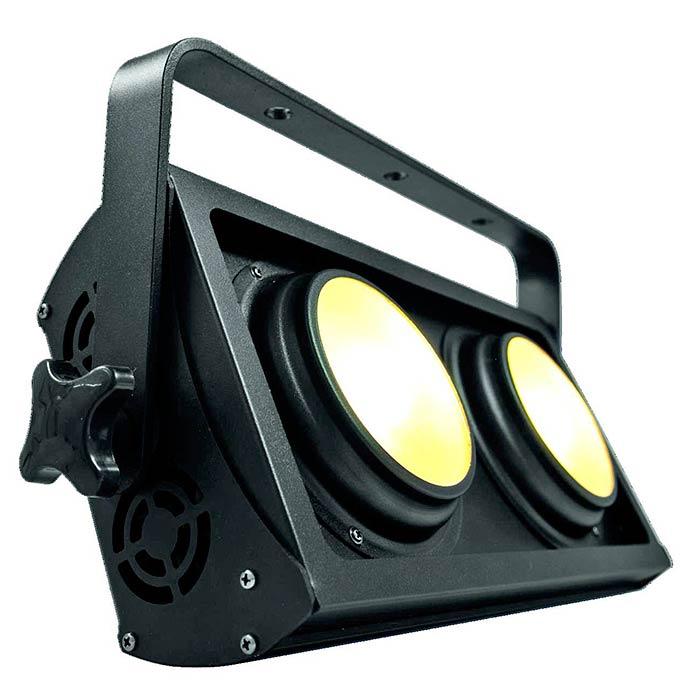 EUROLITE PRO Audience Blinderi 2x 50W COB LEDiä, 60°, 3200K lämmin valkoinen, stroben välkkymisnopeus säädettävissä, eri himmenninkäyrät säädettävissä, DMX-ohjaus tai stand-alone, master/slave. Professional Audience Blinder.