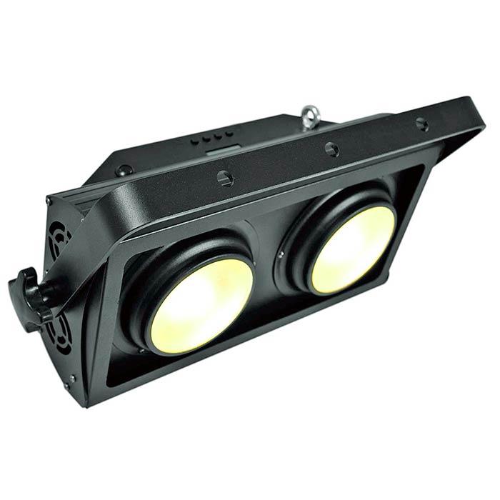 EUROLITE PRO Audience Blinderi 2x 100W COB LEDiä, 60°, 3200K lämmin valkoinen, stroben välkkymisnopeus säädettävissä, eri himmenninkäyrät säädettävissä, DMX-ohjaus tai stand-alone, master/slave. Professional Audience Blinder.
