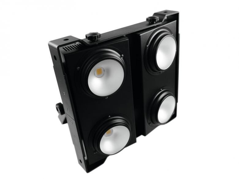 EUROLITE PRO Audience Blinderi 4x 50W COB LEDiä, 90°, 3200K lämmin valkoinen, jokainen LED säädettävissä erikseen, strobessa valmiit ohjelmat ja välkkymisnopeus säädettävissä, musiikkiohjaus, DMX-ohjaus tai stand-alone, master/slave.