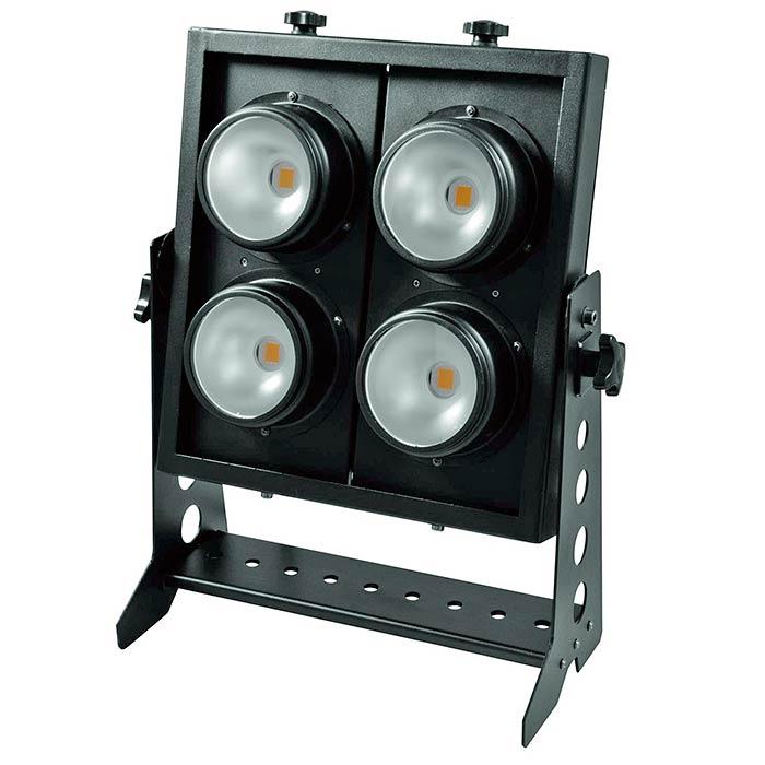 EUROLITE PRO Audience Blinderi 4x 100W COB LEDiä, 90°, 3200K lämmin valkoinen, jokainen LED säädettävissä erikseen, strobessa valmiit ohjelmat ja välkkymisnopeus säädettävissä, musiikkiohjaus, DMX-ohjaus tai stand-alone, master/slave. Professional Audience Blinder.