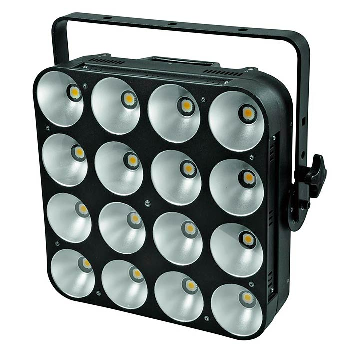 EUROLITE PRO Audience Blinder PMC-16x 20W COB LEDiä, 60°, 3200K lämmin valkoinen, jokainen LED säädettävissä erikseen, sisäänrakennetut ohjelmat, strobessa välkkymisnopeus säädettävissä, himmennin, musiikkiohjaus, DMX-ohjaus tai stand-alone, master/slave. Professional COB Audience Blinder.