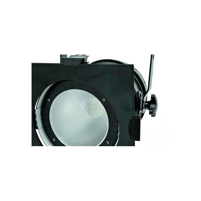 EUROLITE LED PAR-56 valonheitin 100W RGB COB LED 40°, musta, staattiset värit, RGB-värisekoitus, himmennin ja strobe-efekti DMX:n kautta, sisäänrakennetut ohjelmat, musiikkiohjaus, DMX-ohjaus tai stand-alone, master/slave. Professional spot in DMX format with COB LED.