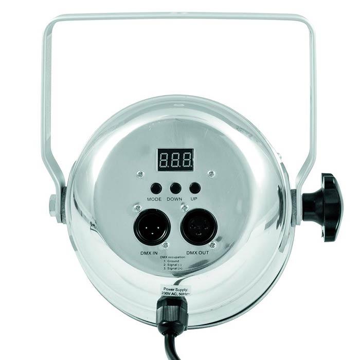EUROLITE LED PAR-56 valonheitin 9x 3W TCL LED 14°, alu, staattiset värit, RGB-värisekoitus, himmennin ja strobe-efekti DMX:n kautta, sisäänrakennetut ohjelmat, musiikkiohjaus, DMX-ohjaus tai stand-alone, master/slave. PAR-56 Short Spot with 3W Tricolor LEDs.