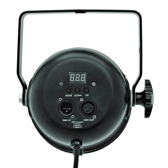 EUROLITE LED PAR-56 valonheitin 9x 3W TCL LED 14° DMX musta, staattiset värit, RGB-värisekoitus, himmennin ja strobe-efekti DMX:n kautta, sisäänrakennetut ohjelmat, musiikkiohjaus, DMX-ohjaus tai stand-alone, master/slave. PAR-56 Short Spot with 3W Tricolor LEDs. DMX kanavat 3 tai 5 kanavan moodissa. Mitat 165 x 205 x 215 mm sekä paino 1,5kg.
