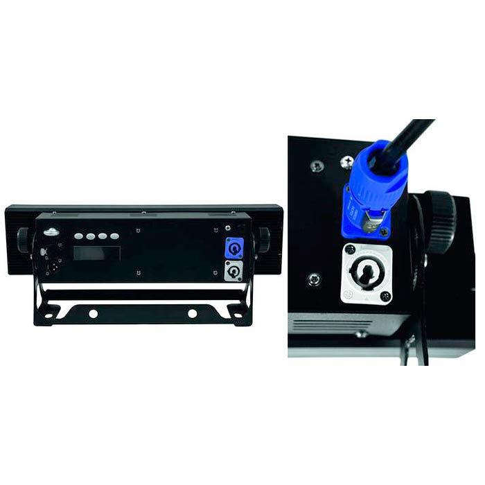 EUROLITE LED PMB-4 LED-palkki 4x 30W RGB COB LED 60°, staattiset värit, RGB-värisekoitus, himmennin ja strobe-efekti DMX:n kautta, sisäänrakennetut ohjelmat, musiikkiohjaus, DMX-ohjaus tai stand-alone, master/slave. LED color changing bar with 30W COB LEDs.