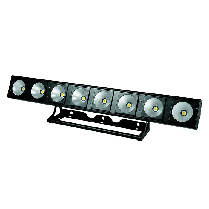 EUROLITE LED PMB-8 LED-palkki 8x 30W 3200K COB LED 60°, himmennin ja strobe-efekti DMX:n kautta, sisäänrakennetut ohjelmat, musiikkiohjaus, DMX-ohjaus tai stand-alone, master/slave.