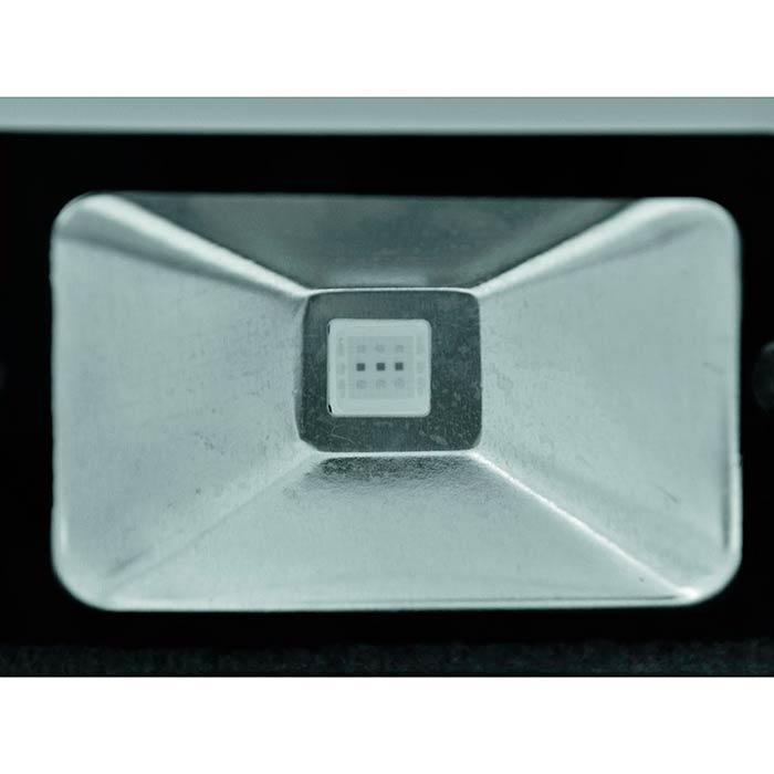 EUROLITE LED IP65 FL-10 LED-valo sisä- ja ulkokäyttöön 10W RGB COB LED 120°, IR-kauko-ohjain sisältyy toimitukseen, ohjaimen toimintasäde 7m, staattiset värit, RGB-värisekoitus, himmennin ja strobe-efekti, sisäänrakennetut valo-ohjelmat tai manuaaliohjaus. Tätä voit käyttää, seinien valaisuun, terasille, pihalle, puiden sekä puskien valaisuun. IP 65 kestää ulkona. Mitat 88 x 115 x 102 mm sekä paino 1kg.