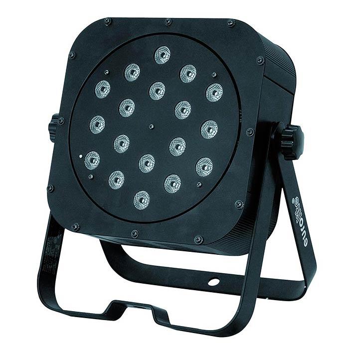 EUROLITE LED SLS-18 valonheitin TCL/BCL Floor 25°, 9x 3W 3in1 tricolor LEDiä (RGB)/ 9x 5W 2in1 bicolor LEDiä (white/amber), himmennin, strobe-efekti, sisäänrakennetut ohjelmat, musiikkiohjaus, DMX-ohjaus tai stand-alone, master/slave.