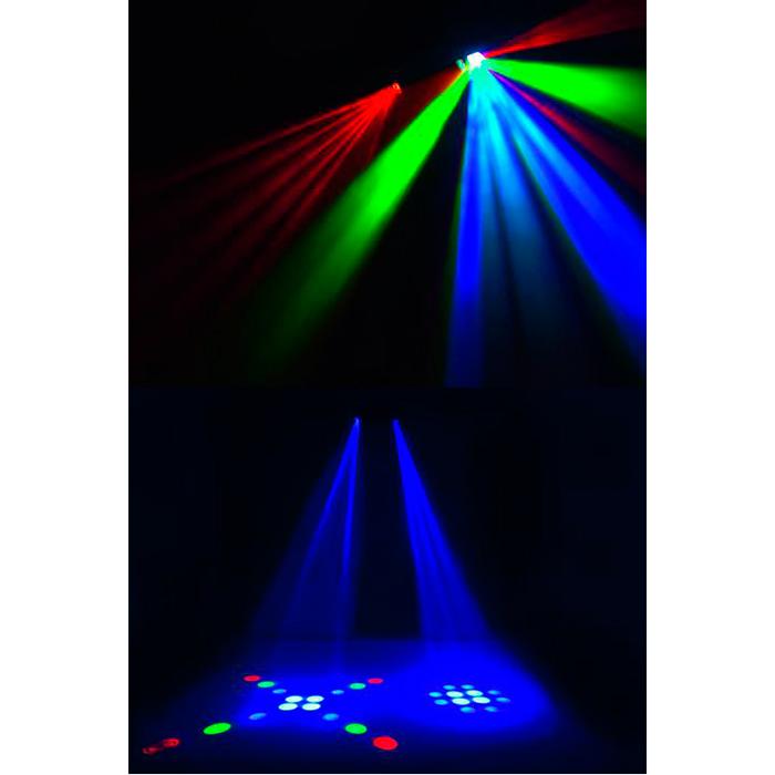 EUROLITE LED DMS-2 Scanner-tyyppinen beam-efekti RGBAW-väreillä, 128x 5mm LEDiä, sisäänrakennetut ohjelmat, musiikkiohjaus, DMX-ohjaus tai stand-alone, master/slave. Mitat 513 x 175 x 225 mm paino 3,5kg.