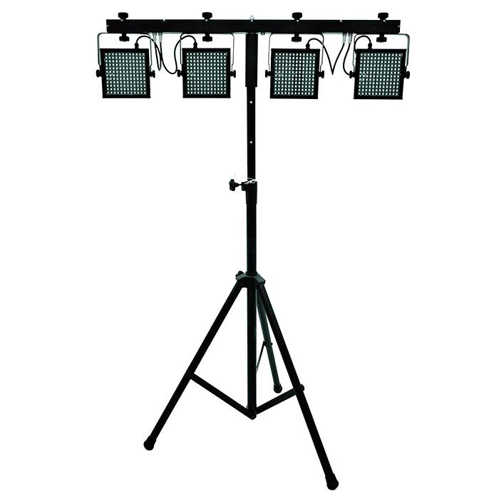 EUROLITE LED KLS-5050 4 slimline-spotin valosetti kuljetuskotelolla, 144 SMD LEDiä per spotti 140°, eli yhteensä 576 LEDiä. Soveltuu todella hyvin lähivalaisuun! DMX:n kautta himmennin, strobe-efekti, musiikkiohjaus, DMX-ohjaus tai stand-alone, master/slave. Ohjattavissa myös erikseen saatavalla jalkaohjaimella tai IR-kauko-ohjaimella. KLS-Series. Setin mitat 1250 x 65 x 315mm, casen kanssa 1250 x 65 x 315 mm sekä paino 9,0kg.