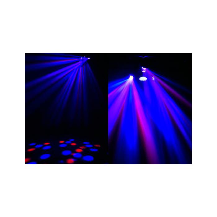 EUROLITE LED CLW-100 Flower-efekti RGBAW-väreillä, 48x 9mm LEDiä ja 132x 5mm LEDiä, sisäänrakennetut ohjelmat, strobe, musiikkiohjaus, DMX-ohjaus tai stand-alone, master/slave. Three armed centre piece with RGBW LEDs and Strobe. Uskomattoman upea centerpiece valoefekti!