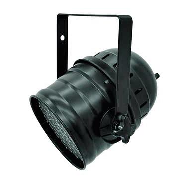 EUROLITE LED PAR-64 LED-valonheitin RGBW-värit + UV 49x 3W LEDit 20° musta, staattiset värit, RGB-värisekoitus, himmennin ja strobe-efekti DMX:n kautta, sisäänrakennetut ohjelmat, musiikkiohjaus, DMX-ohjaus tai stand-alone, master/slave. PAR-64 RGBW+UV short black.