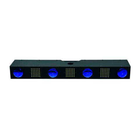 EUROLITE LED MAT-Bar Strobe valoefektipalkki 256x 5mm RGBAW 15° LEDiä ja 108x SMD white LEDiä, staattiset värit, RGBAW-värisekoitus, strobe-efekti, sisäänrakennetut ohjelmat, musiikkiohjaus, DMX-ohjaus tai stand-alone, master/slave. The next generation of LED flower effect bars.