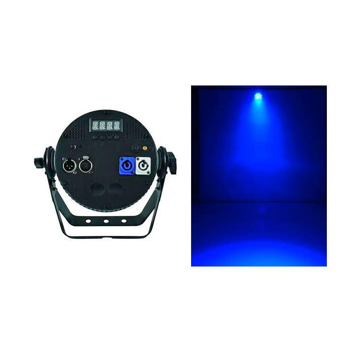 FUTURELIGHT PRO Pixel Slim PAR-12 TCL 12x 3W 3in1 tricolor LEDiä 13°, jokainen LED ohjattavissa erikseen, täyteläiset RGB-värit, esiasetetut värilämpötilat, himmennin, strobe-efekti, DMX-ohjaus tai stand-alone, master/slave. Professional slimline LED spot with 3W TCLs. Mitat 95 x 265 x 270 mm sekä paino 3,2kg.