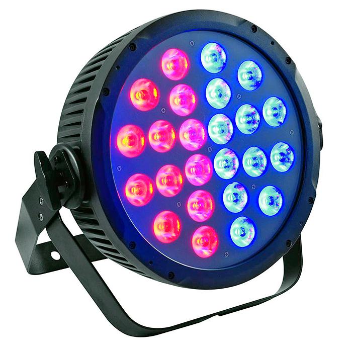 FUTURELIGHT PRO Pixel Slim PAR-24 TCL 24x 3W 3in1 tricolor LEDiä 13°, jokainen LED säädettävissä erikseen (katso video), täyteläiset RGB-värit, esiasetetut värilämpötilat, himmennin, strobe-efekti, DMX-ohjaus tai stand-alone, master/slave. Professional slimline LED spot with 3W TCLs. Mitat 100 x 345 x 365 mm sekä paino 5,4kg.