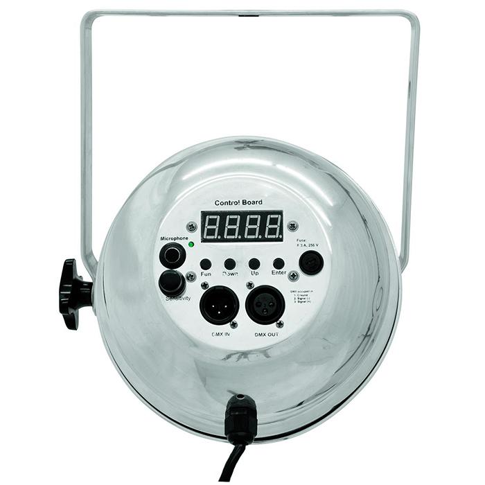 EUROLITE LED PAR-64 RGB 36x 5W LEDit 20°, malli lyhyt alu, staattiset värit, RGB-värisekoitus, himmennin ja strobe-efekti DMX:n kautta, sisäänrakennetut ohjelmat, musiikkiohjaus, DMX-ohjaus tai stand-alone, master/slave. Professional DMX Spot with TCL LEDs.