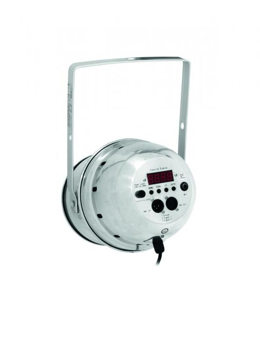 EUROLITE LED PAR-64 valonheitin 183x 10mm LEDiä 10°, alu, LED-toimintonäyttö ja ohjauspaneeli valoheittimen takana, staattiset värit, RGB-värisekoitus, himmennin ja strobe-efekti DMX:n kautta, sisäänrakennetut ohjelmat, musiikkiohjaus, DMX-ohjaus tai stand-alone, master/slave. Professional spot as LED RGB DMX model.
