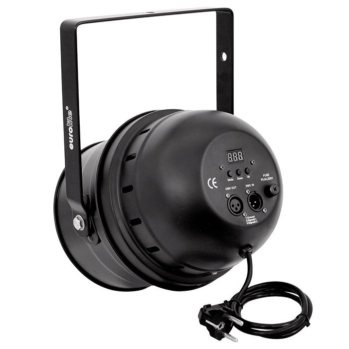 EUROLITE LED PAR-64 RGBA DMX-ohjattava LED-PAR-heitin 5-kanavaa, RGB-multivärit miksattavissa, myös oranssi. Automatiikalla voi säätää värien feidausaikaa, sisäänrakennettu mikrofoni, master ja slave toiminne yhdenmukaiseen vaihtoon! LED Spot 177x 10mm LEDs 36°, 27W, black, Professional Spot as LED DMX model! RGBA= Red, Green, Blue & Amber!