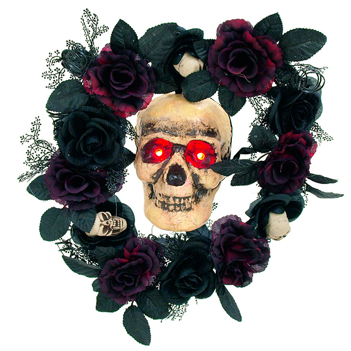EUROPALMS Halloween ruususeppele LEDeillä 40 x 13cm. Halloween Roses Wreath with LEDs