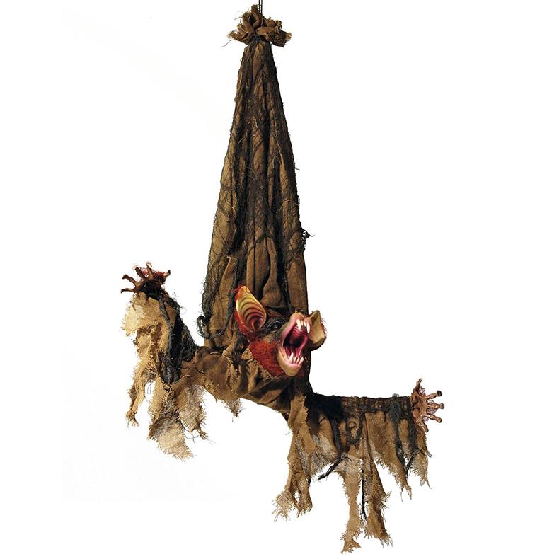 EUROPALMS Halloween hahmo lepakko elävöitetty moottorilla, äänitehosteella ja LED-valoilla 95cm, ripustetta, tuotetta ei ole palosuojattu, palosuojaukseen sopivaa palosuoja-ainetta katso Tuotteeseen yhteensopivat tuotteet