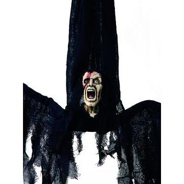 EUROPALMS Halloween hahmo psyko elävöitetty moottorilla, äänitehosteella ja LED-valoilla 80cm, ripustetta, tuotetta ei ole palosuojattu, palosuojaukseen sopivaa palosuoja-ainetta katso Tuotteeseen yhteensopivat tuotteet