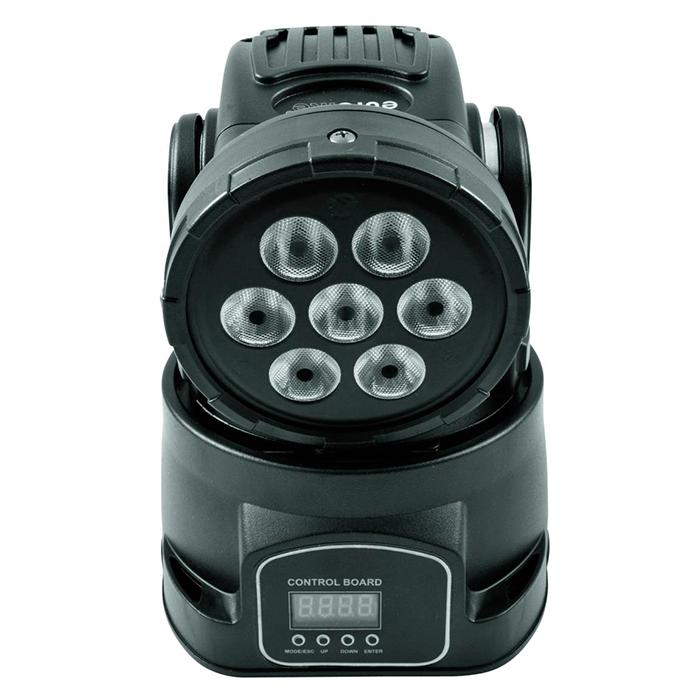 EUROLITE LED TMH-9 Moving Head Wash 7x 8W quadcolor LEDiä, RGBW-värit, portaaton värien vaihto, värimacrot DMX-kautta, himmennin, strobe, DMX-, muusiikkiohjaus tai stand-alone, master/slave. Pieni ja tehokas. Mitat 175 x 175 x 245 mm sekä  paino 3,0kg.