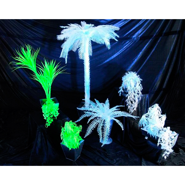 EUROPALMS 50cm UV-Muratti riippuva, valkoinen, hohtaa ultraviolettivalossa (mustavalossa). Ivy hanging bush, UV-white. The ideal decoration, makes room for visionary scopes of design.