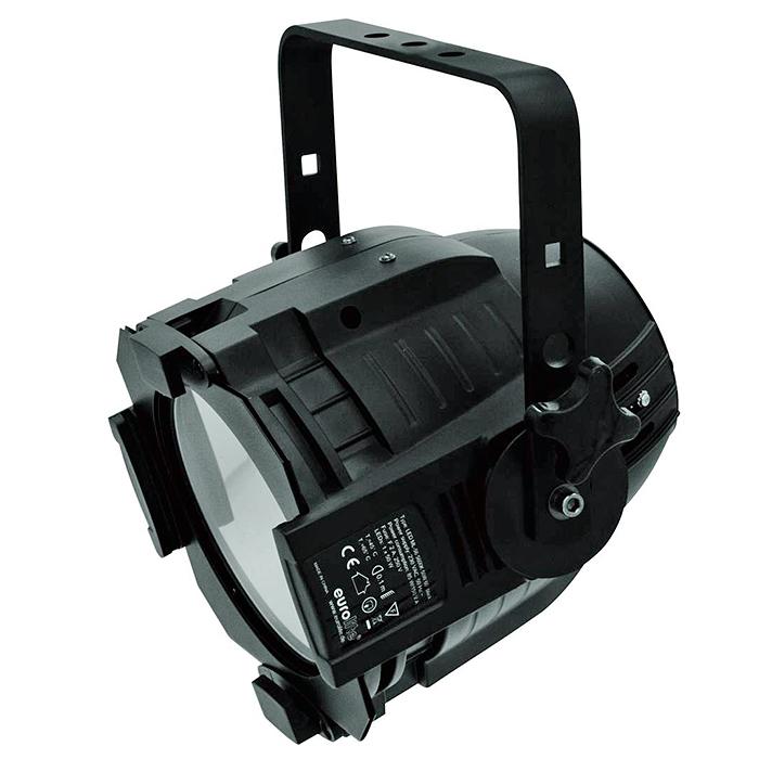 EUROLITE LED ML-56 valonheitin 100W COB LED 60° CW/WW värilämpösekoitus (kylmä/lämmin valkoinen), runko musta, 17 valmista väriasetusta, himmenninkäyrät ja himmennyksen nopeus säädettävissä, strobe, DMX-ohjaus tai stand-alone, master/slave. LED spot in multi lens design with powerful white LED.