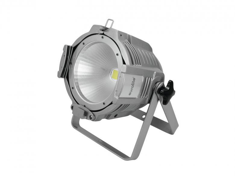 EUROLITE LED ML-56 valonheitin 100W COB LED 60° CW/WW värilämpösekoitus (kylmä/lämmin valkoinen), rungon väri alumiini, 17 valmista väriasetusta, himmenninkäyrät ja himmennyksen nopeus säädettävissä, strobe, DMX-ohjaus tai stand-alone, master/slave. LED spot in multi lens design with powerful white LED.