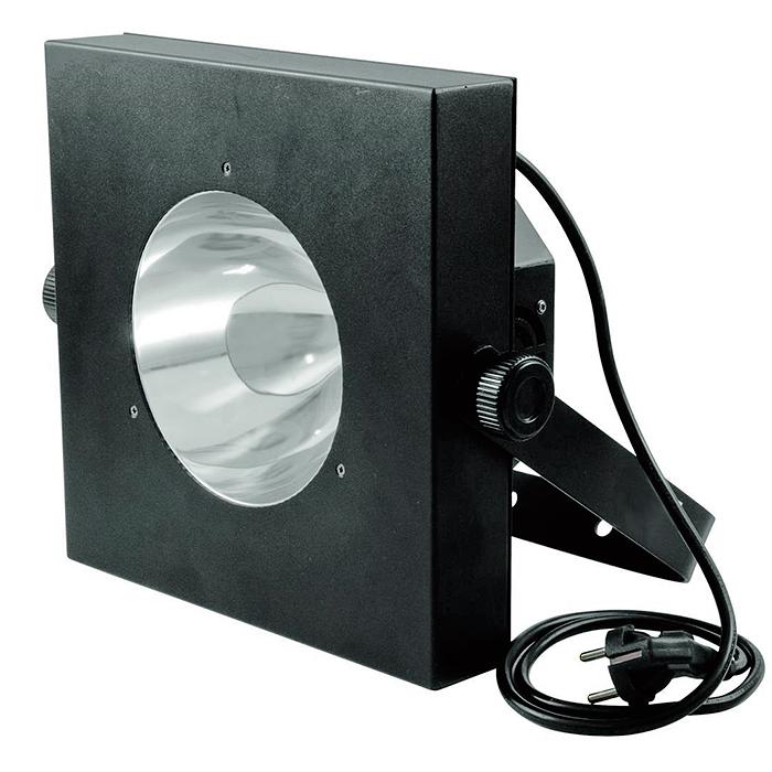 EUROLITE LED UV-valaisin Gun 60W COB LEDillä 25°, IR-kauko-ohjaimella, himmennin, strobe, DMX-ohjaus tai stand-alone, master/slave, LED-toimintonäyttö ja ohjauspaneeli valaisimen takana. UV LED lighting effect with infrared remote control.