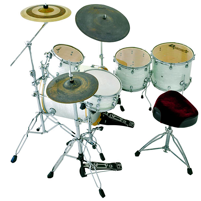 DIMAVERY DS-555 Upea rumpusetti, ilman peltejä. 5-piece Drum set Pearl White. Professional kit.