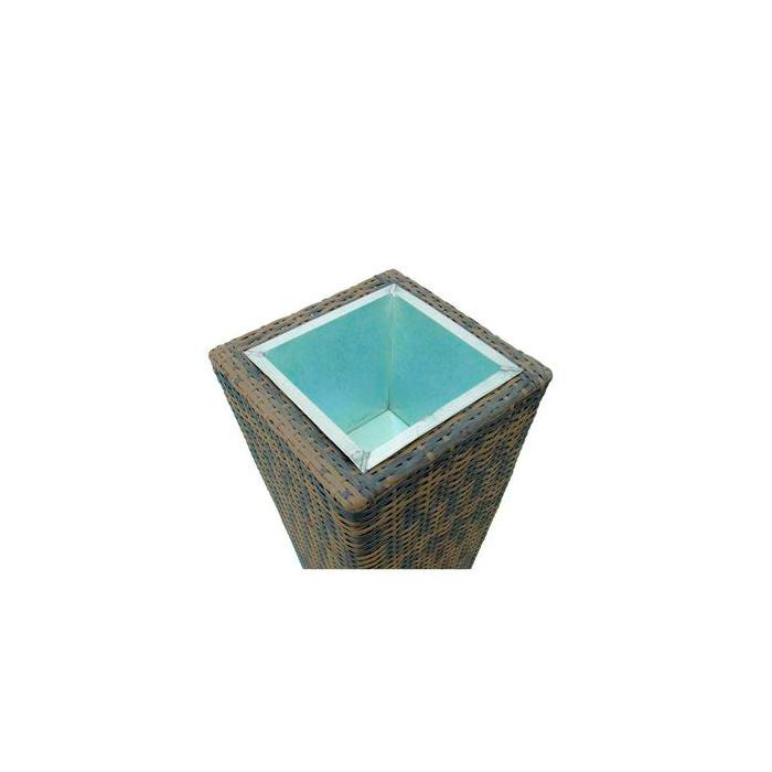 DECO Sinkkiruukku suojaruukun sisään n. 34 x 34 x 18cm, sopii sisä- tai ulkokäyttöön. Zinc pot for Polyrattan pot, M. Zinc addition for poly rattan cachepot, makes the