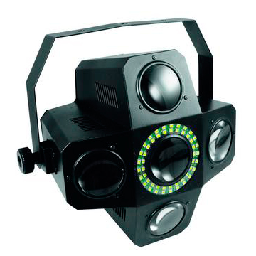 EUROLITE LED PUS-5 Hybrid Flower-efekti 320x 5mm RGBWA LEDiä ja 50x SMD-5050 white LEDiä 40°, auto mode, musiikkiohjaus, sisäänrakennetut ohjelmat, strobe-efekti DMX:n kautta, stand-alone, master/slave.