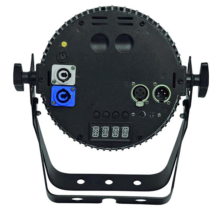 FUTURELIGHT PRO Slim PAR-12 LED-valonheitin 12x 5W QCL RGBA LEDiä 17°, 11 valmista väriasetusta, automaattinen värien vaihto, sisäänrakennetut ohjelmat, himmennnysnopeus portaattomasti säädettävissä, strobe, DMX- tai muusiikkiohjaus, stand-alone, master/slave.
