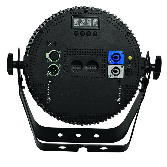 FUTURELIGHT PRO Slim PAR-18 LED-valonheitin 18x 5W QCL RGBA LEDiä 17°, 11 valmista väriasetusta, automaattinen värien vaihto, sisäänrakennetut ohjelmat, himmennnysnopeus portaattomasti säädettävissä, strobe, DMX- tai muusiikkiohjaus, stand-alone, master/slave.