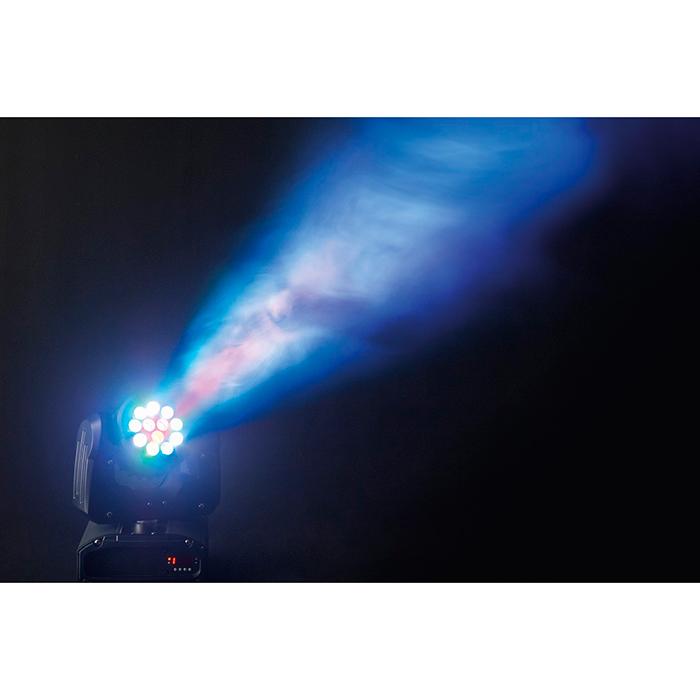 ADJ Inno Color Beam 12 Moving Head RGBW 12x 3W CREE LEDiä 15˚. LED-näyttö menu, himmennettävä 0-100%, pulssi ja strobe-efekti, kolme toimintatilaa master/slave, ääni- ja DMX-ohjaus. Mitat 224 x 219 x 302mm sekä paino 5kg.