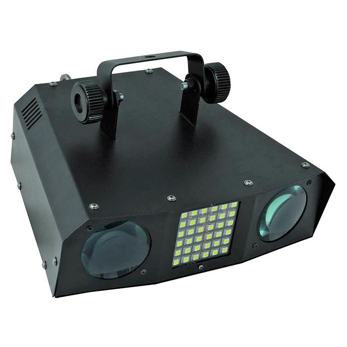 EUROLITE LED DMF-20 Hybridi flower-valoefekti 128x 5mm RGBAW LEDiä ja 36x SMD-5050 white LEDiä, 20°, LED-toimintonäyttö ja ohjauspaneeli, sisäänrakennetut valmiit ohjelmat, strobe-efekti, auto mode, ääniohjaus, DMX-ohjaus tai stand-alone, master/slave. Mitat 275 x 286 x 168 mm sekä paino 2,0kg.