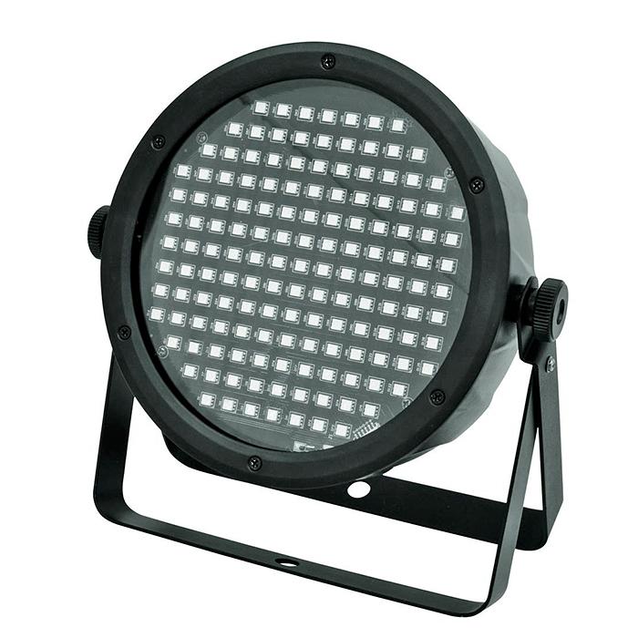 EUROLITE LED SLS-145 TCL SMD 5050 Floor 145x SMD 5050 RGB LEDiä, erittäin leveä valokeila, staattiset värit, RGB-värisekoitus, himmennin ja strobe-efekti DMX:n kautta, valmiit sisäänrakennetut ohjelmat, musiikkiohjaus, sisäänrakennettu mikrofoni - herkkyys säädettävissä, DMX-ohjaus tai stand-alone, master/slave.