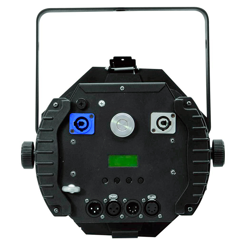 EUROLITE LED Teatterivalonheitin THA-100F PRO, COB LED 100W, 3200K, 10°-50°, LED-toimintonäyttö ja ohjauspaneeli valaisimen takana, himmennin, strobe, DMX tai stand-alone, master/slave. Professional COB theater spot with powerful 100W LED.